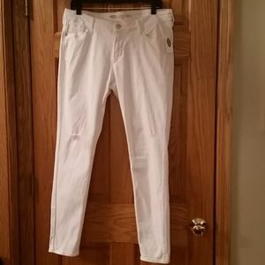 Old Navy white distressed low-rise jeans